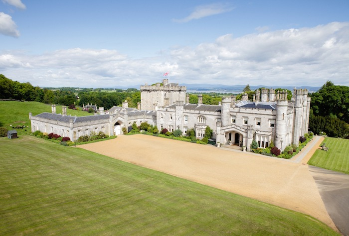 Dundas Castle exterior in Scotland. Castle offers Outlander wedding package
