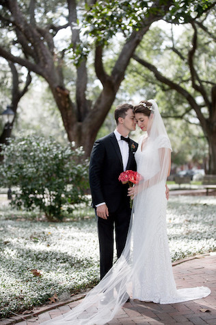 Couple in Savannah, Georgia for southern destination wedding
