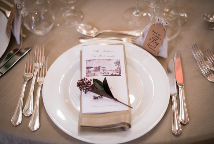 Tuscan wedding table decor