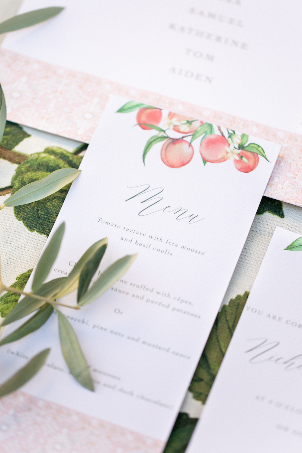 wedding stationery with watercolor peaches
