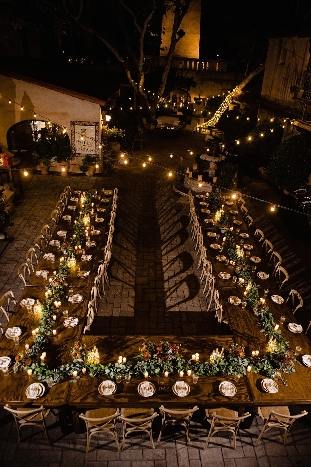 u-shaped wedding table set up at Tlaquepaque