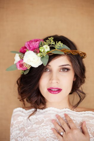 Side Swept with Flower Headpiece, Hair & Makeup